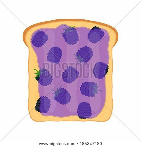 Fried bread, toast with blackberry jam. Jelly paste. Made in cartoon flat style.