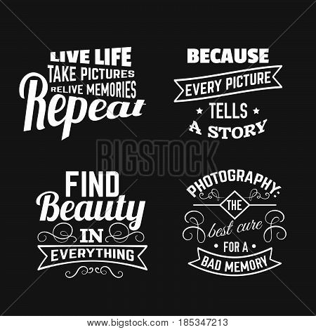 Quote typographical background about photography with illustration of camera in hand drawn sketch style. Template for card poster and banner in vintage style.
