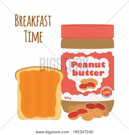 Peanut butter with toast. Fried bread with butter and nuts. Made in cartoon flat style.