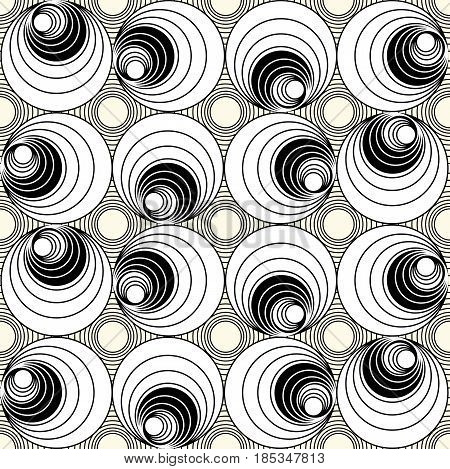 Monochrome seamless background with circle shapes in op-art style, simple rotating geometric shapes, vector EPS 10