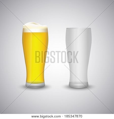 Beer glass empty and full template vector eps 10