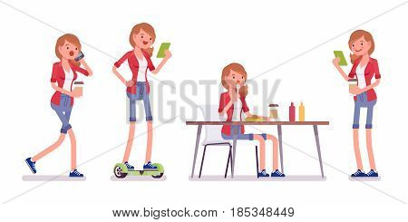 Set of female millennial, smart casual, jeans shorts, red shirt, standing on gyroscooter, walking with phone, sitting and eating, vector flat style cartoon illustration, isolated, white background
