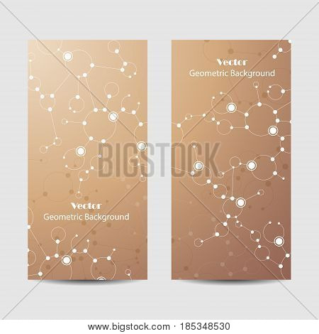 Set of vertical banners. Abstract geometric background with connected lines, circles and dots. Vector illustration on brown background.