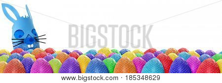 Funny Easter eggs banner on white background