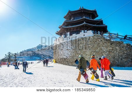 Tourists taking photos of the beautiful scenery and skiing around Deogyusan South Korea