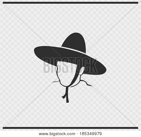 mexicano icon black color on transparent background