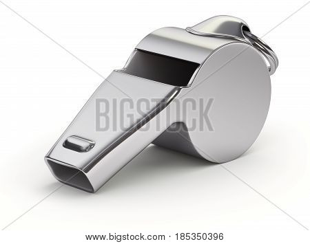 Metal whistle on white background - 3D illustration