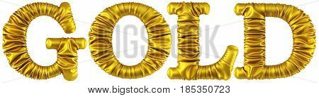 word gold made from golden fabric. Isolated on white. 3D illustration.
