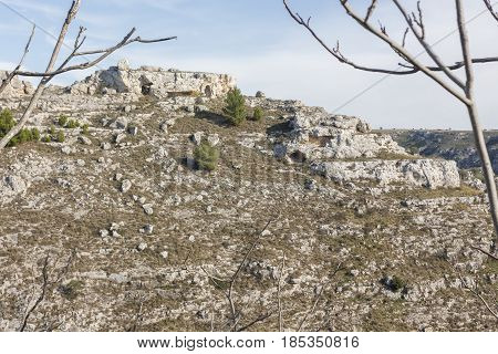 View of the Sassi of Matera to understand a concept of culture and tourism.