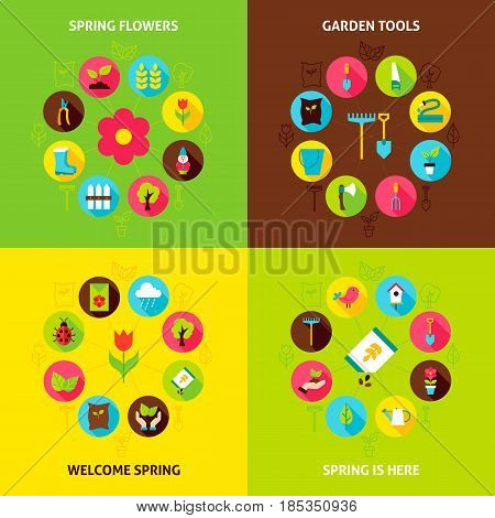 Spring Garden Concepts Set. Vector Illustration of Nature Infographic Circle with Flat Icons.