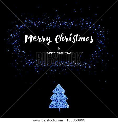 Vector Christmas card - blac background with gold foil stars and handwritten letters. New Year invintation. Golden fir-tree or Christmas tree.