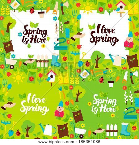 Spring Garden Lettering Posters. Four Vector Illustration Flat Style Nature Postcards with Lettering.