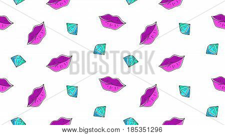 vector seamless pattern of lips and diamond on white background