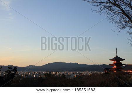 Three-story Pagoda Of Kiyomizu Dera In Kyoto, Japan (evening Scene)