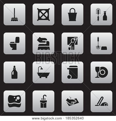 Set Of 16 Editable Cleaning Icons. Includes Symbols Such As Wc Cleaning, Cleaning Man, Laundry Detergent And More. Can Be Used For Web, Mobile, UI And Infographic Design.