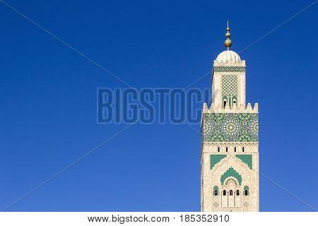 Grande Mosque Hassan II minaret detail in Casablanca Morocco.