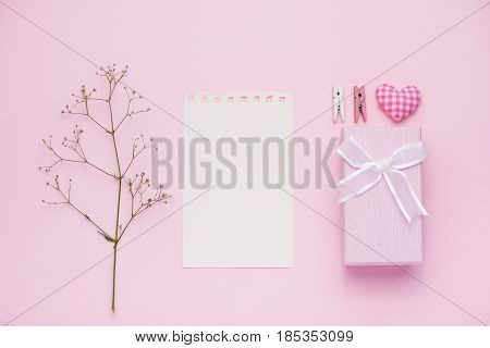 Gift Box Tied With Pink Ribbon And White Flowers For Mothers Day