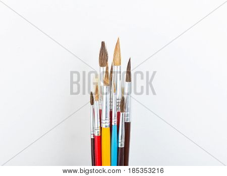 colorful paint brushes, school supplies special artistic equipment