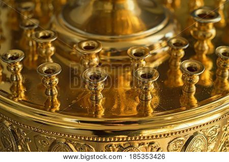 Detail of lamp stand for candles in Russian Orthodox Church