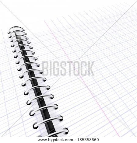 3D Rendering of an open graph paper notebook showing two pages