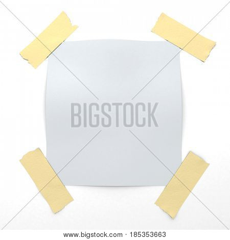 White sticky note held to the wall by adhesive tape 3D rendering
