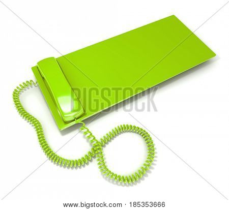 3D rendering of a green telephone with a lot of copy space to insert your message