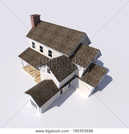 3D rendering of big beautiful house, aerial view