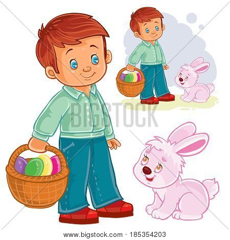Vector Easter illustration of a little boy with a basket for Easter hunting next to the Easter bunny. Print, shablon, design element