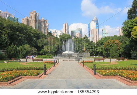 HONG KONG - NOVEMBER 8, 2016: Unidentified people visit Hong Kong Zoological and Botanical Gardens.