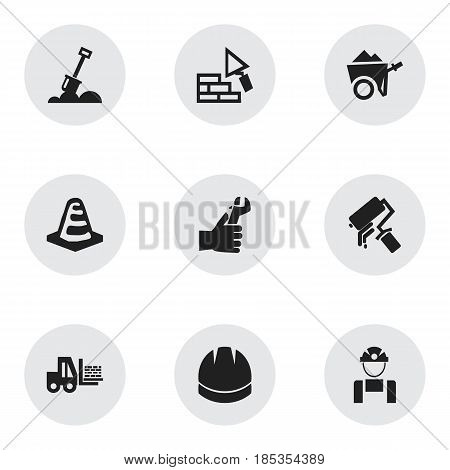 Set Of 9 Editable Structure Icons. Includes Symbols Such As Hardhat, Oar, Employee And More. Can Be Used For Web, Mobile, UI And Infographic Design.