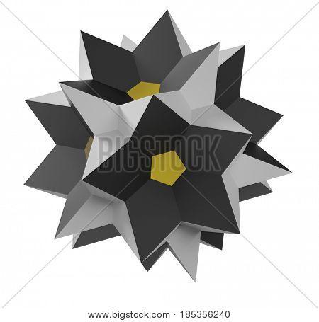 Polyhedron on the white background