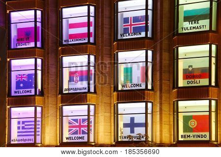 KYIV, UKRAINE - MAY 5, 2017: Central department store windows decorated with welcome greetings in different languages during Eurovision song contest