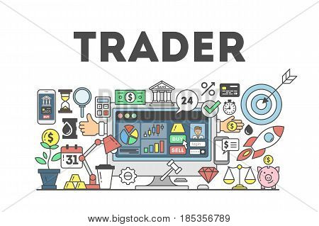Trader concept illustration. Signs and icons on white background.