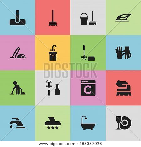 Set Of 16 Editable Cleaning Icons. Includes Symbols Such As Hoover, Faucet, Sink And More. Can Be Used For Web, Mobile, UI And Infographic Design.