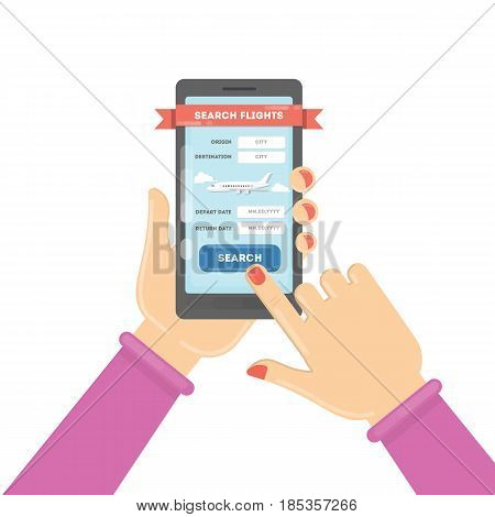 Flight ticket search. Female hands holding smartphones with online booking. Search flights.