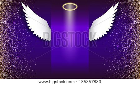 Angel wings with golden halo hovering on the dark background. Wings and golden halo. Card with white angelic wings. Gradient backdrop with golden, shiny, glitter dust. Horizontal picture frame poster