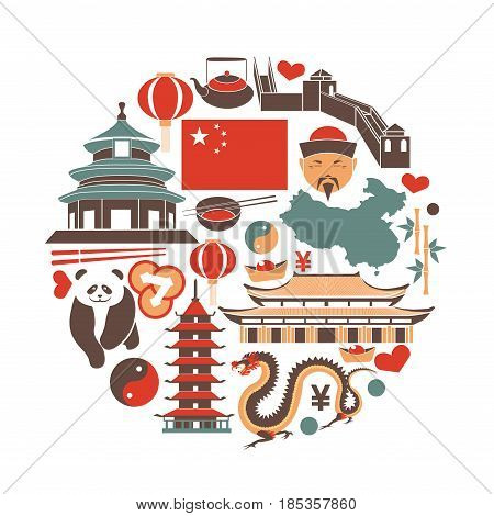 Chinese national things collection in circle isolated on white. Vector illustration in flat design of colorful China attributes as buildings and food presenting culture and traditions of asian country