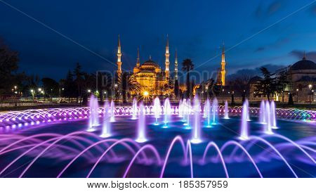 The Blue Mosque at Sultanahmet square in the evening, Istanbul, Turkey. Blue Mosque is the biggest mosque in Istanbul.