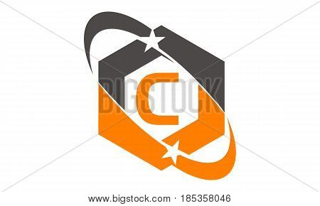 This image describe about Star Swoosh Letter C