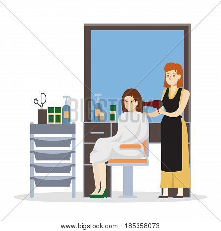 Isolated hairdressing salon illustration. Stylist with hairdryer.