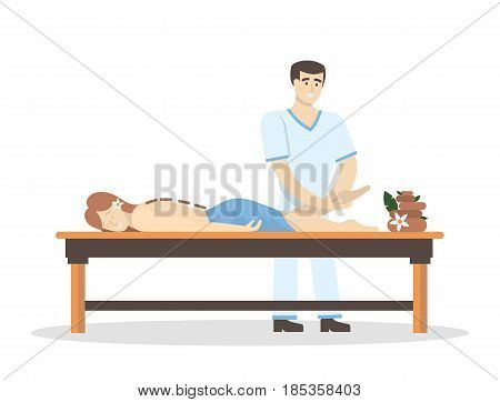 Massage in the spa salon. Man does massage for woman on white background.