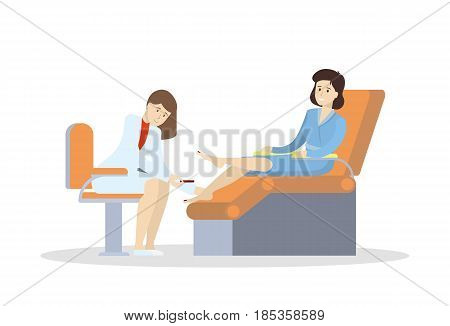 Pedicure in salon. Isolated illustration on white background.