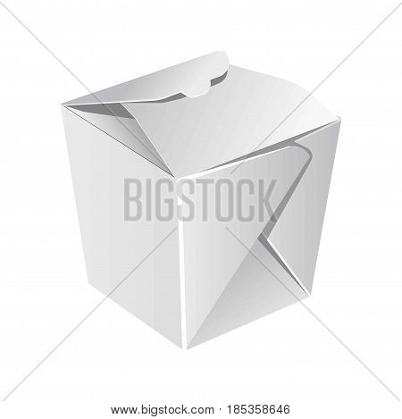Food packaging blank closed paper bag isolated on white. Vector in flat design of eco container for take away food storing. Carton box for meal storage template, cardboard ecologically safe package