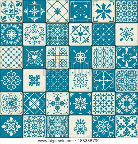 Ceramic tile set. Vintage oriental moroccan style tiles patterns or spanish flowers decorative motifs. Vector illustration