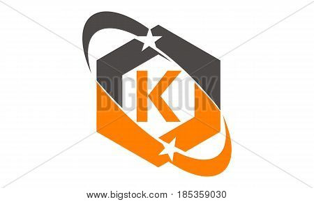 This image describe about Star Swoosh Letter K