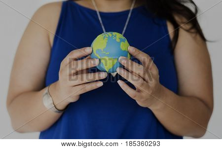 Woman Holding Globe Environmental Conservation