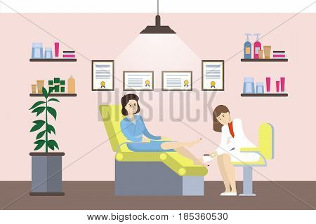 Pedicure in salon. Isolated illustration in cabinet.