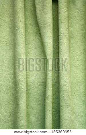 Heavy Green Pleated Textile Curtain Background