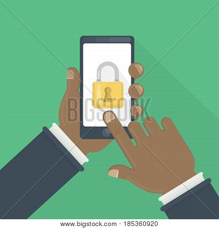 Phone lock concept. African male hands hold smartphone with lock screen.