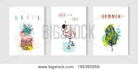 Hand drawn vector abstract summer time cards set with pink flamingo, tropical palm leaves, pineapple and funny quotes isolated on white background.Hipster wedding, birthday, decoration, save the date, logo